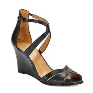 Nine West Champayne Leather Peep Toe Wedge Sandals